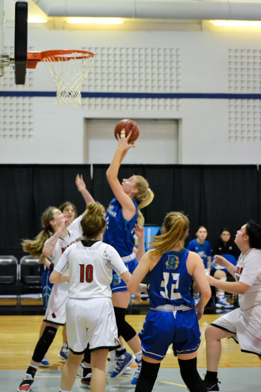 Women's Basketball center Sarah Healy takes a shot at this season's national tourna-ment.