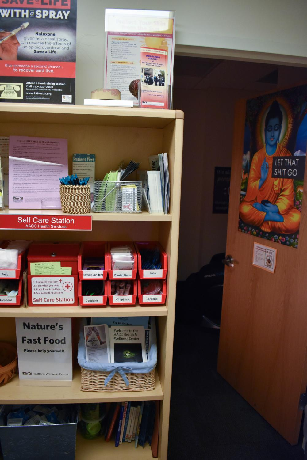 The Self-Care Station in the Health & Wellness Center offers free condoms, tampons, cough drops and more.