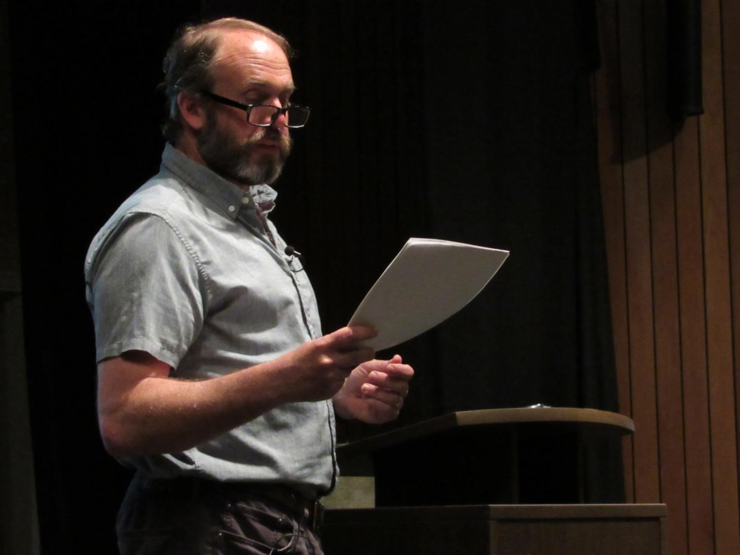 Dr. Rick Van Noy, an environmental author, urged students at yesterday's writers reading series event to take action on climate change.