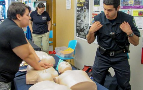 AACC Public Safety Officer Nathan Bruno taught people a crash course on CPR using the song