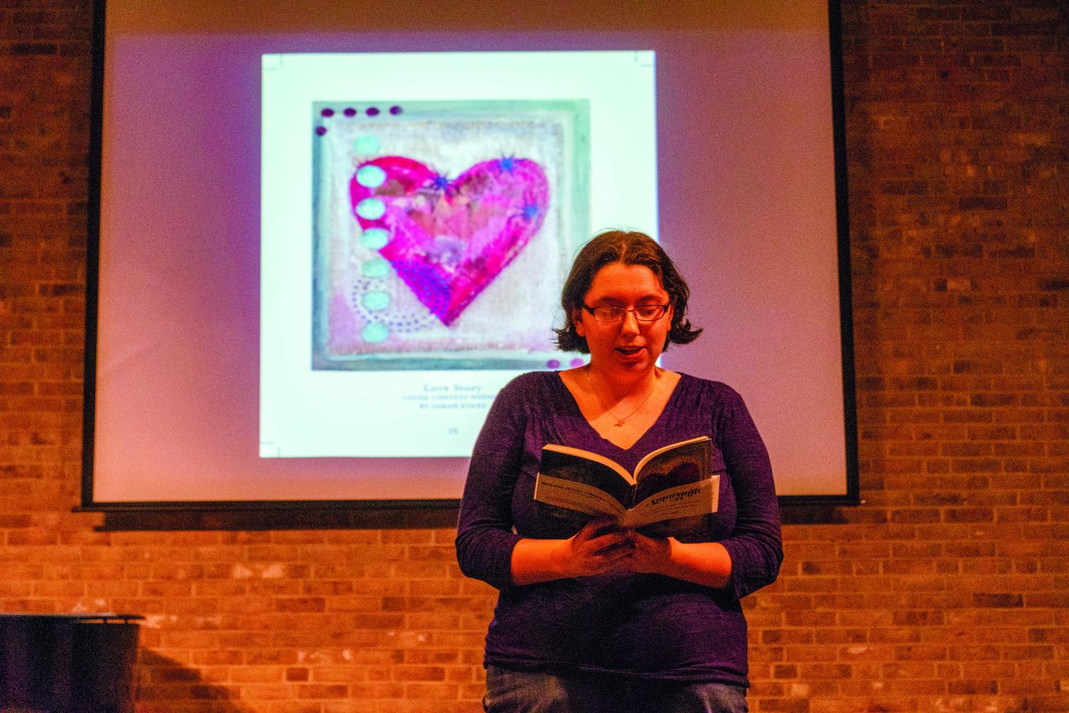 "Rachel Green, a third-year creative writing student, reads from work she submitted to the 44th annual edition of AACC's literary journal, ""Amaranth,"" at the release party on April 24."