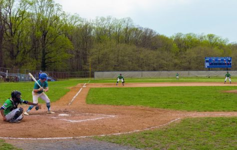 Second-year center fielder Noah Rafsky hits in the game against Chesapeake College.