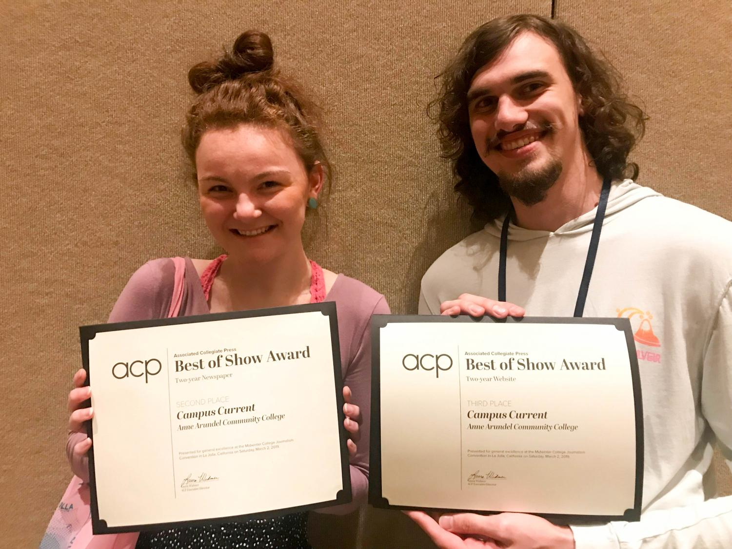 Editor-in-Chief Alexandra Radovic and Multimedia Editor Daniel Nickerson display the awards Campus Current won for the student newspaper and website.