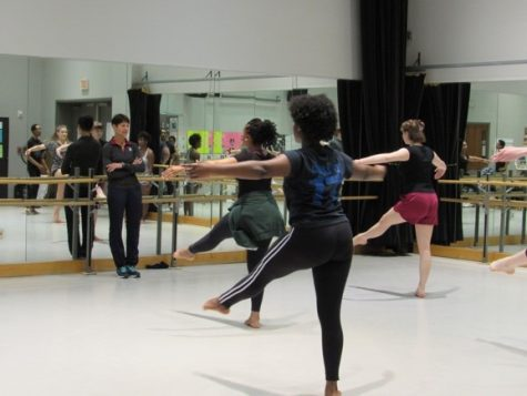 Dance professor Lynda Fitzgerald prepares students for spring performances.