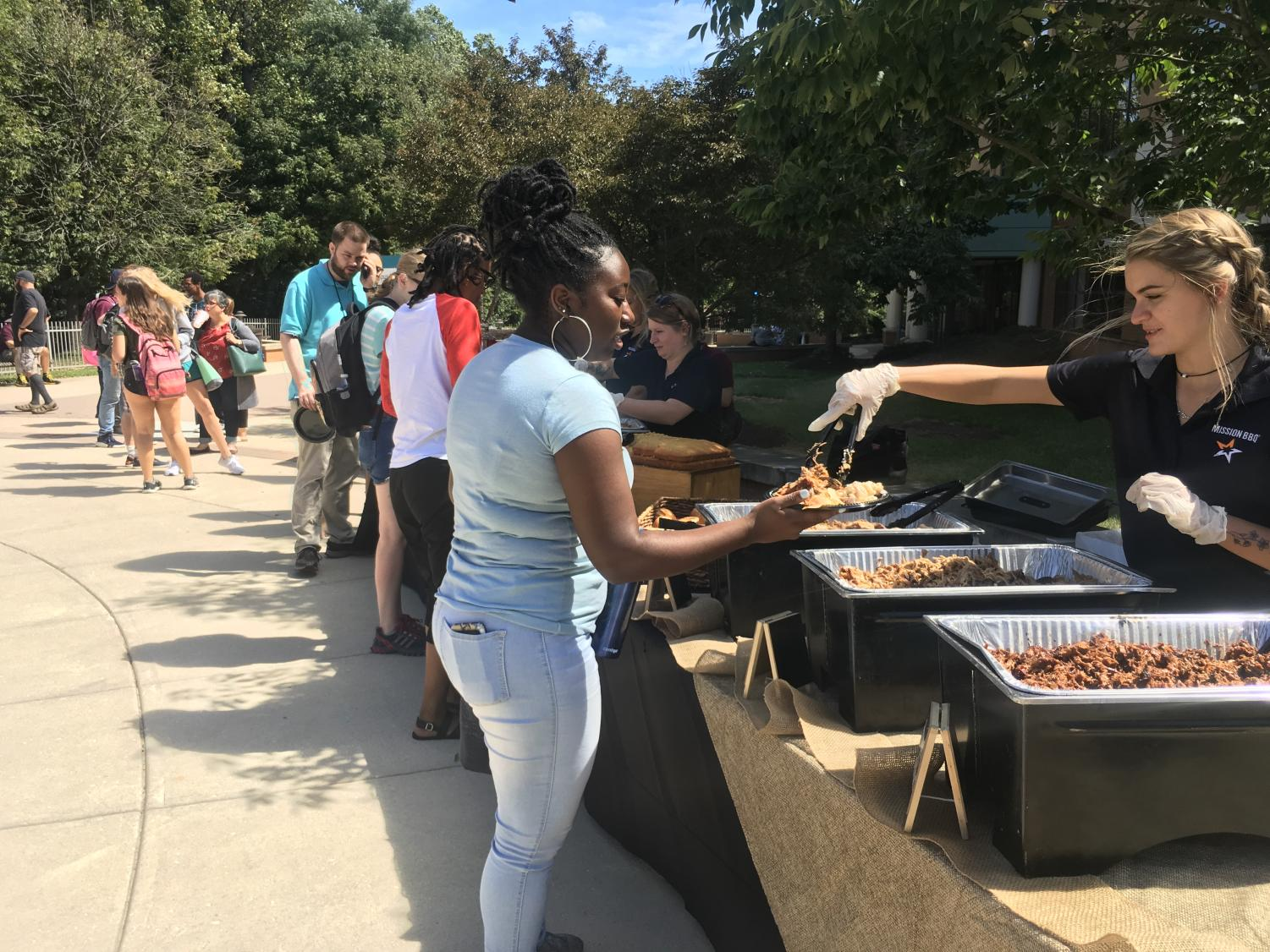 Students got free Mission BBQ and ice cream at Riverhawk Day on Aug. 30.