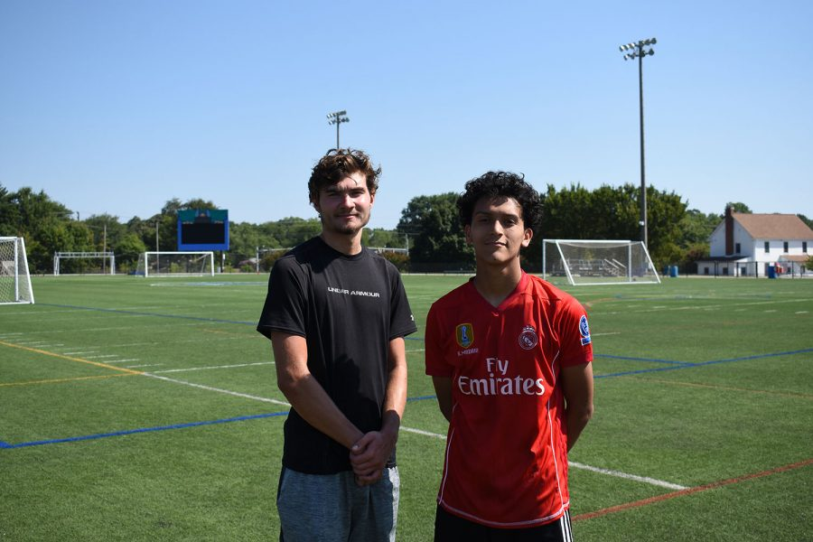 Second-year+defender+Cole+Switzer+%28left%29+and+second-year+midfielder+Angel+Calderon+say+they+are+enthusiastic+about+the+upcoming+soccer+season.