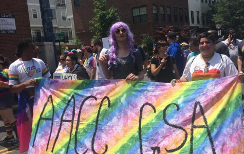 AACC students and faculty march in Annapolis´s first Pride Parade, displaying a rainbow banner to support the LGBTQ community, with the GSA club in the head.