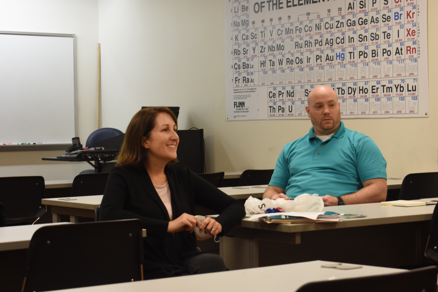 Dr. Julie Grignon (left) and Dr. Jarred Jenkins hosted the Psychology Club's Recruitment Gathering on Tuesday.