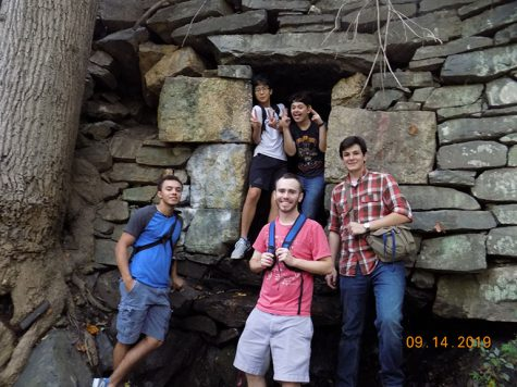 Members of the AACC Adventure Society Club take a break during an outing at Patapsco Valley State Park.