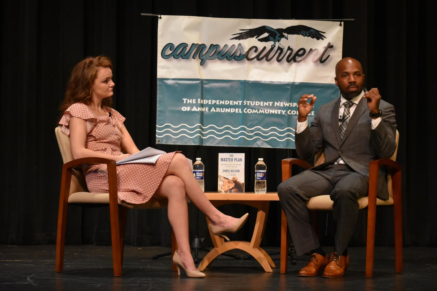 Author Chris Wilson talked about his past, including his time in prison, and life post-incarceration. Shown: Alexandra Radovic (left), Chris Wilson
