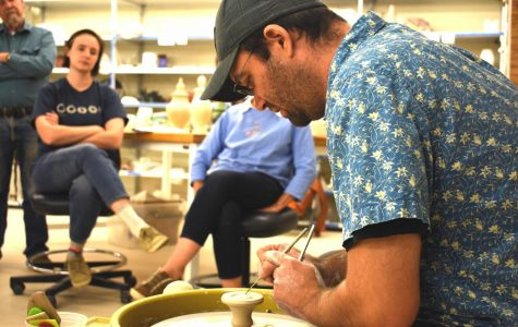 Jason Piccoli, a ceramics artist, shows off his talent of creating ceramics to students at AACC.