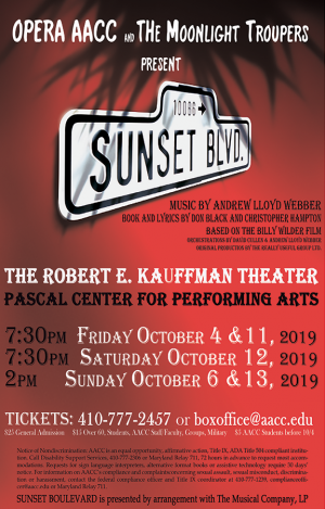 Advertisement for Sunset Blvd performance on October 4, 6, 11, 12 and 13.