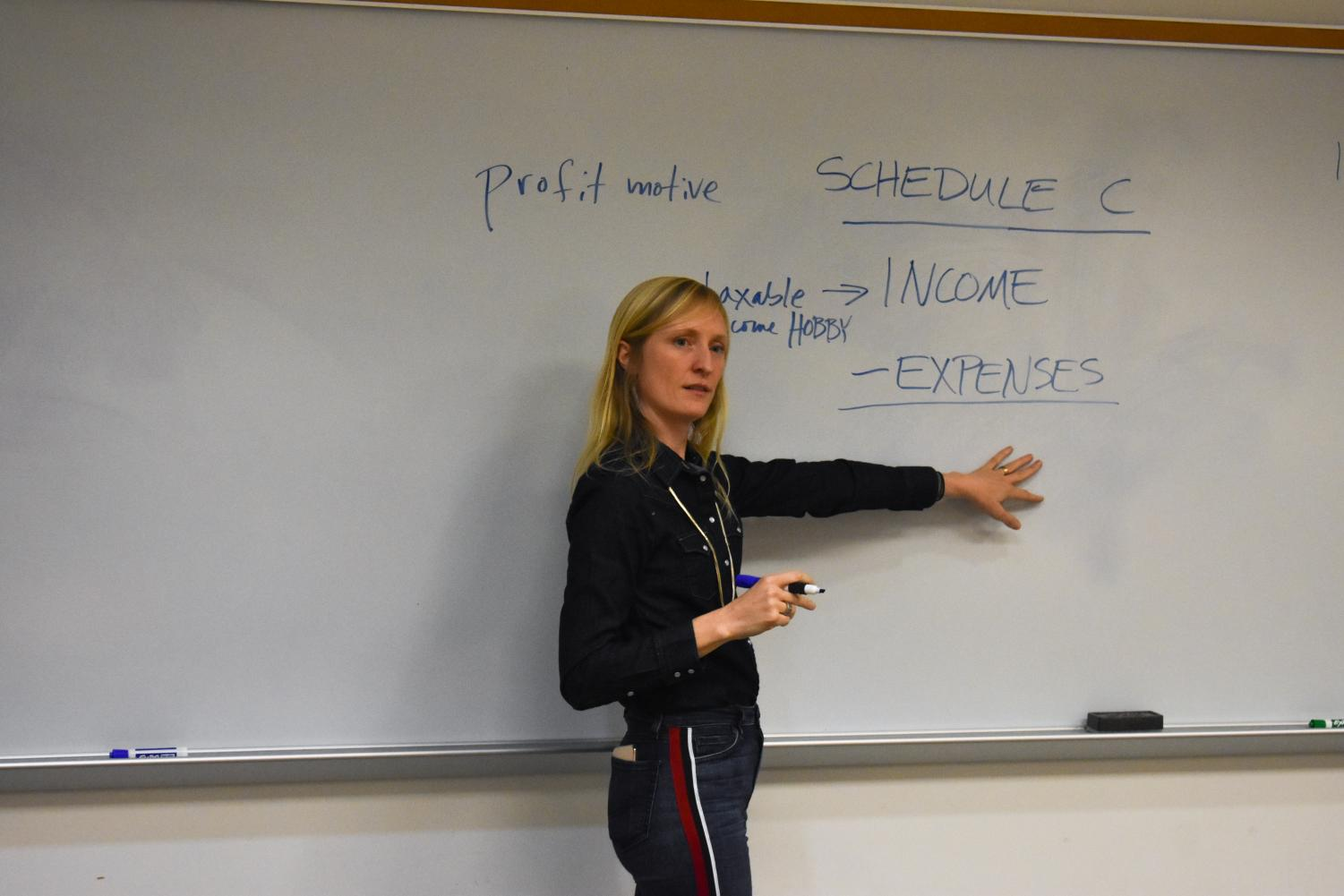 Speaker Hannah Cole explains filing taxes to creative entrepreneurs and artists.