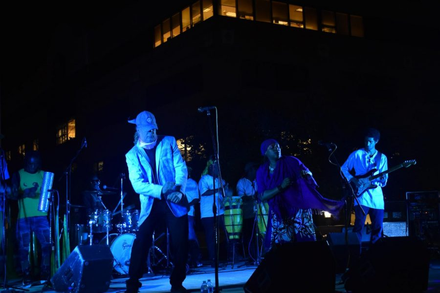 The Haitian band RAM performs music at the amphitheater at West Campus