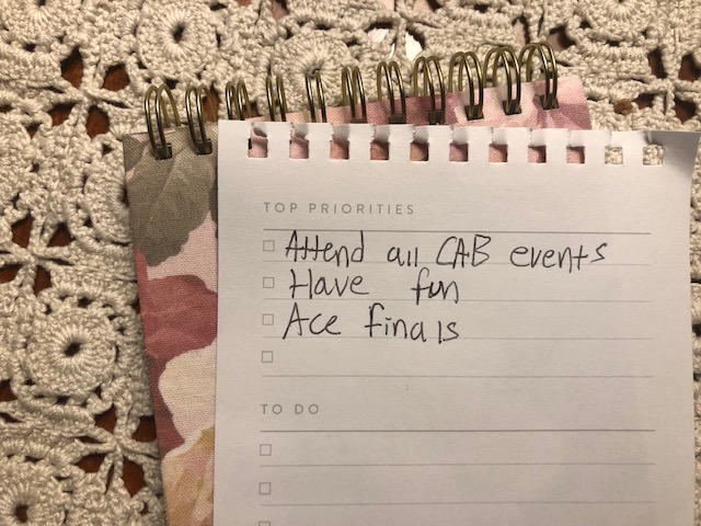 A to-do list, encouraging students to attend events at AACC.
