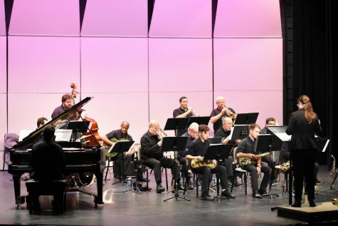 Professor Mercedes Beckman conducting for the AACC Jazz Ensemble.