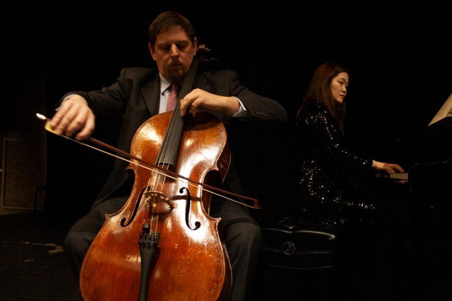 Cello professor Daniel Shomper (left) performs a three sonata recital with Dr. Woobin Park (right).