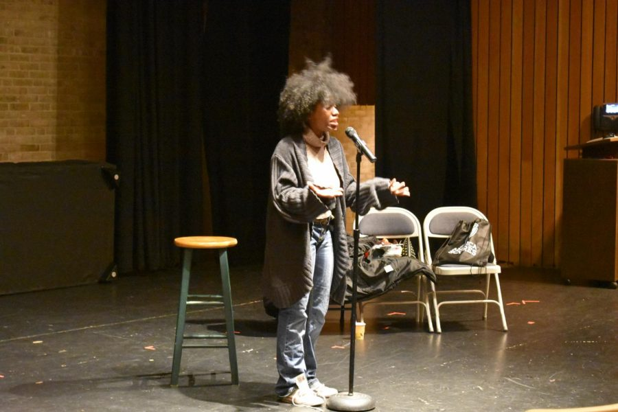 Mecca Verdell, a slam poet from Baltimore, reads poetry at the final coffeehouse of the semester, hosted by the AACC literary magazine Amaranth and the Campus Activities Board.