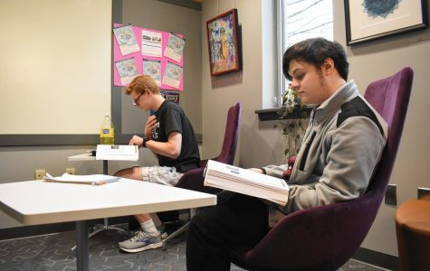 First-year undecided student Ryan Barthelemy, left, and second-year sociology student Joseph Giddings prepare for finals.