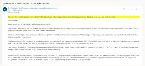 AACC adds bright yellow warning labels on emails originating from outside of the college.