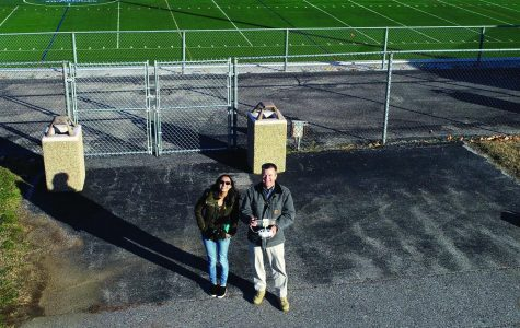 Drone i mage of Amber Nathan and Tim Tumelty taken near AACCs sports fields