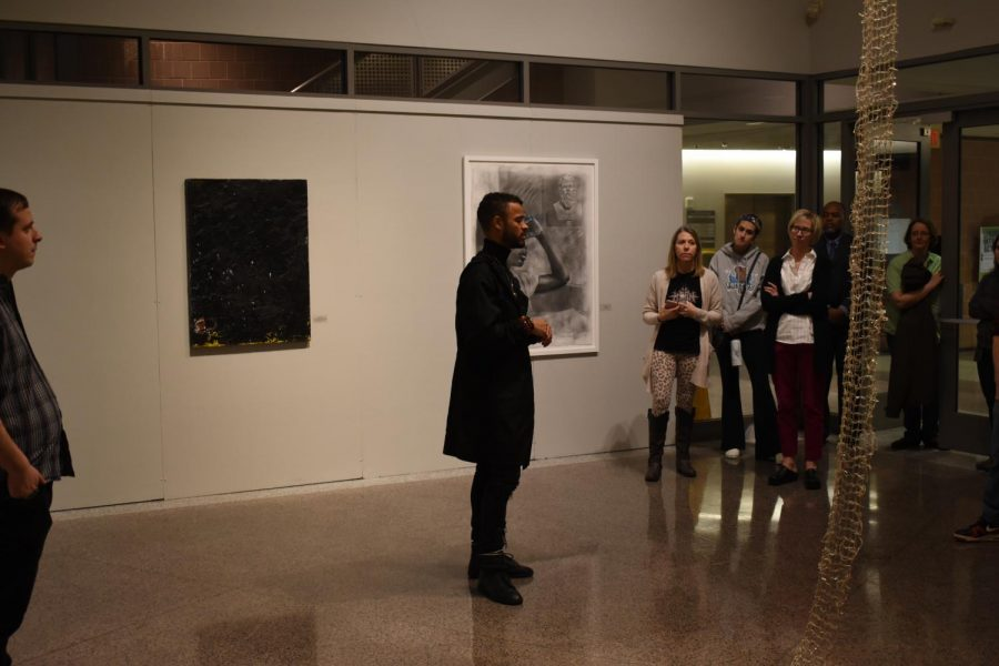 Curator+Thomas+James+speaks+to+an+audience+of+students+and+faculty+about+the+art+exhibit+Grey+Matter%3A+A+Response+to+Blackness%2C+held+in+the+Cade+Gallery.