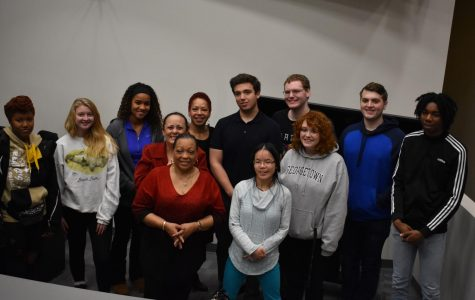 Producer of 'Dancing Through The Flames' Beverly Lindsay-Johnson stands with AACC students.