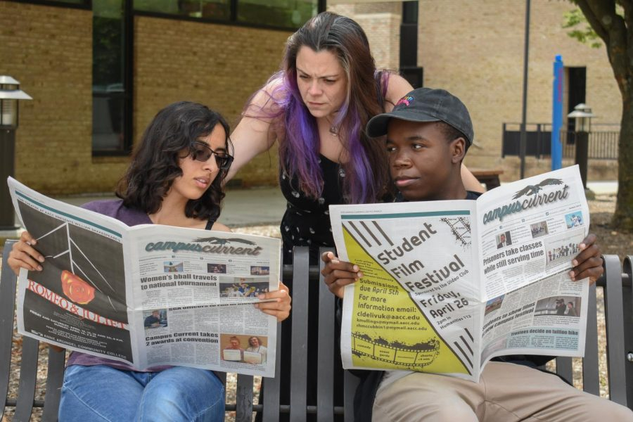 AACC's new strategic plan addresses the achievement gap among minority students. Shown left to right: former Campus Current editors Amber Nathan, Christina Browning and Christian Richey.