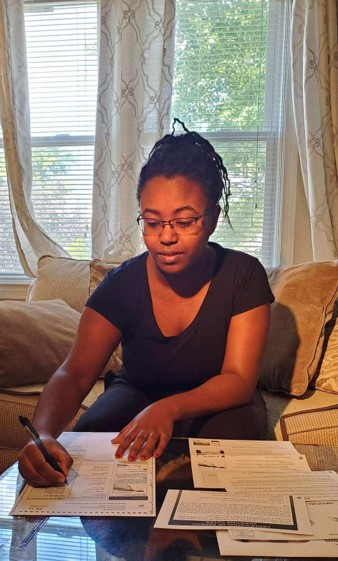 """The best way to make a change is to just vote,"""" says first-time voter Icram Doku, a second-year computer science student."""