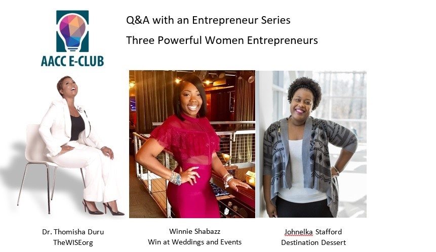 Panelists Thomisha Duru, Johnelka Staff and Winnie Shabazz says hobbies, life experiences and interests outside of work can spur an idea for a successful business startup.