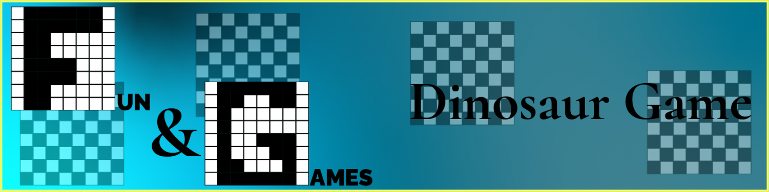 Pixel monogrammed logo for the fun and games section on the left, and the page title of Dinosaur Game on the right, each with faded checkerboards behind them.