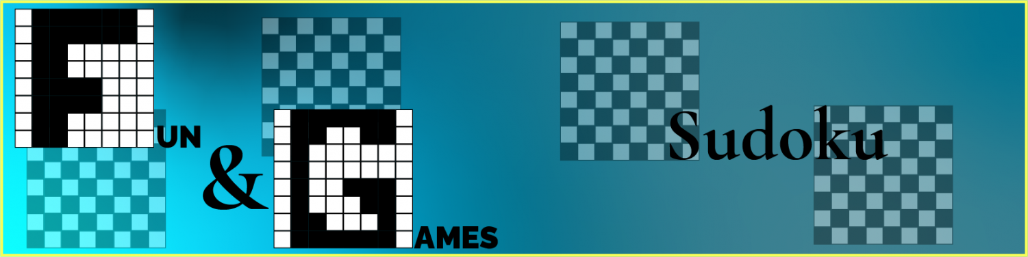 Pixel monogrammed logo for the fun and games section on the left, and the page title of Sudoku on the right, each with faded checkerboards behind them.