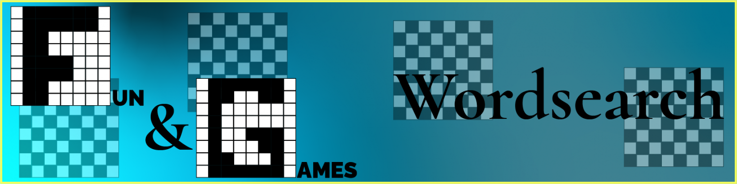 Pixel monogrammed logo for the fun and games section on the left, and the page title of Wordsearch on the right, each with faded checkerboards behind them.