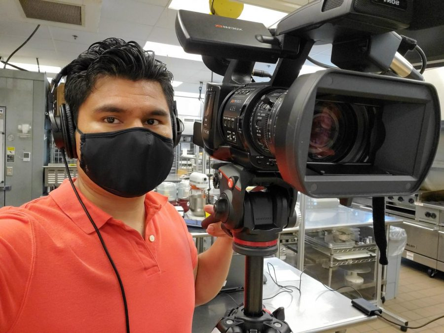 Arnold Fuentes, digital media developer for the virtual campus, films cooking demonstrations and Zoom meetings for AACC's Hotel, Culinary Arts and Tourism Institute.