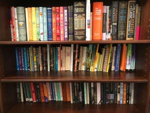 The bookshelf in the home of third-year communications student Amber Nathan is stocked with classics. Nathan, like other students, says she has been reading more since the pandemic has kept her at home.