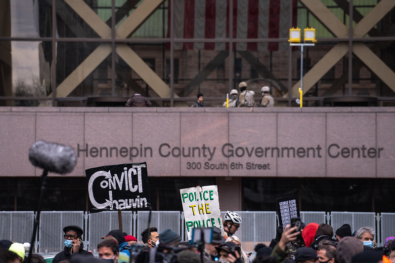 Protestors gather outside the Hennepin County Government Center, where former police officer Derek Chauvin was convicted of killing George Floyd this week. AACC legal studies professors explained the legal aspects of the trial to students during a virtual meeting on Wednesday.