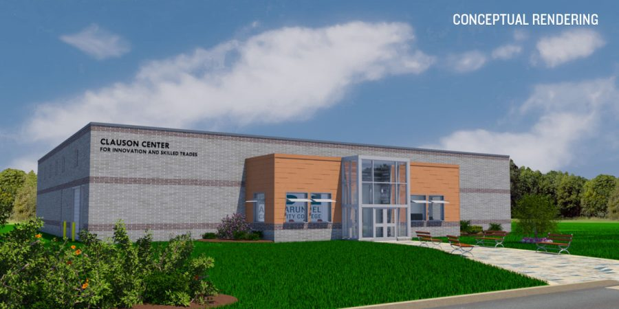 The Clauson Center for Innovation and Skilled Trades will open in January. Shown, an artists rendering of the finished building, which is still under construction