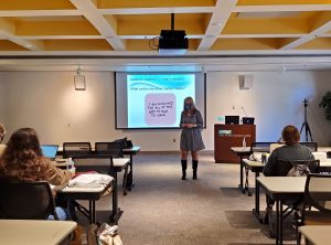 """Professor Lisa Starkey led the """"Creating a Growth Mindset""""  session at a Riverhawks Rise leadership conference for students this week."""