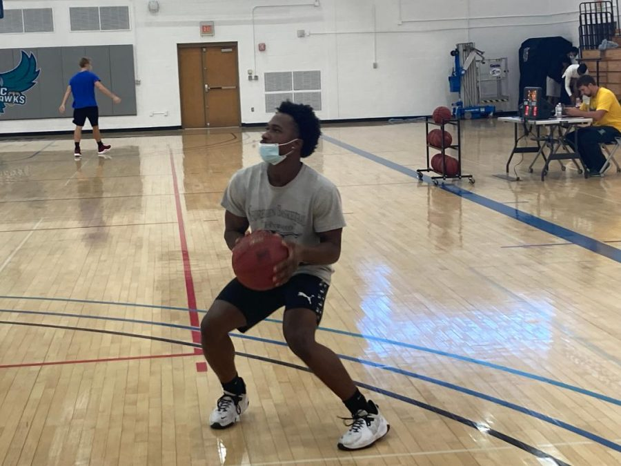 Mens basketball point guard Eddy Alexandre practices in Jenkins Gym ahead of his teams season opener next weekend.